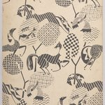 (Pattern of Horses, Birds and Geometric Designs - in Black and White)
