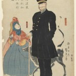 An American Merchant and His Daughter Strolling in Yokohama