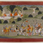 Battle between Lava and Ramas brother, Shatrughna, near the hermitage of Valmiki, Page from a Dispersed Ramayana Series