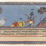 Brahma Worships Krishna, Page from a Dispersed Ramayana Series