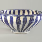 Blue and White Bowl with Radial Design