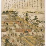 View of Tenman Shrine at Tojima, from an untitled series of Famous Places in Edo