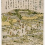 View of Massaki Inari Shrine, from an untitled series of Famous Places in Edo