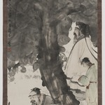 Two Scholars Beneath a Tree, Unmounted hanging scroll