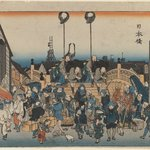 Nihonbashi: Daimyo Procession Setting Out, from the series Fifty-three Stations of the Tokaido Road