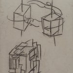 [Untitled] (Lecture Drawing) (Study of a Cube in Space)
