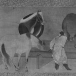 Horses and Grooms (Hanging Scroll)