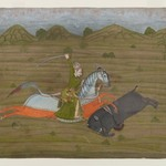 Prince Hunting Wild Boar (Miniature Painting)