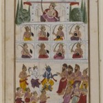 Krishna and Devotees before a Palace, Page from an Unidentified Hindu Manuscript