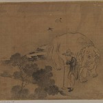 Farmer and Elephant, Album Leaf Painting