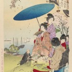 Cherry Blossoms at Goten-yama, from the series An Assortment of Womens Customs
