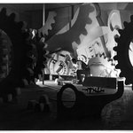 """Henry Billings Creating his """"Mobile Mural,"""" for the Ford Building, New York Worlds Fair, 1939"""