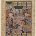 "Folio from a ""Shahnameh"": Rustam Fighting Puladvand Div"