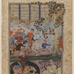 "Folio from a ""Shahnameh"": The Death of Rustam and His Killing   Shaghad"