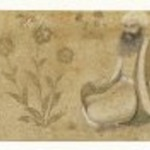 Portraits of Two Scribes Seated with Books and Writing Table Amid Gold Flowers, Section of a Margin of a Royal Album Page
