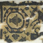Square Fragment with Animal and Potted  Botanical Decorations