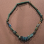 Single Strand Necklace with Bead and 5 Scarabs