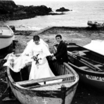 Wedding Couple in Boat on Beach, France