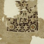 Square Fragment with Figure, Geometric, and Potted Plant Decoration