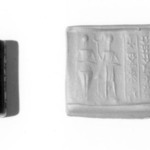 Cylinder Seal: Two Figures with Old Babylonian Inscription