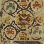 Square Fragment with Basket and Botanical Decoration