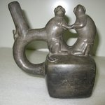 Stirrup Spout Bottle with Two Monkey Figures