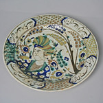 Dish Depicting Turbaned Youth and Persian Poetic Inscriptions