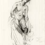 Study of Nude Figure with Drapery