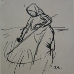 Leaves From a Serbian Sketchbook: Sketch of a Woman with Scythe