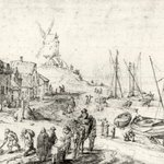 Harbor Scene with Windmill