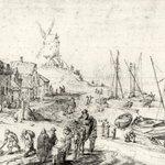 Harbor Scene with Windmill