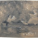 Two Figures in a Punt with Foliage Background