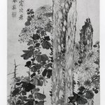 Chrysanthemum and Garden Rocks, Hanging Scroll