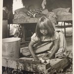 Seminole Indian Girl Washing Clothes