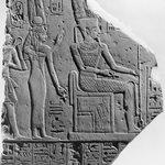 Relief of Amun, Ahmose-Nefertari, and King Amunhotep I
