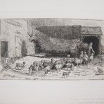 Untitled (Barnyard Scene with Sheep)