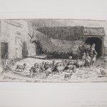 Untitled (Barnyard Scene with Sheep)
