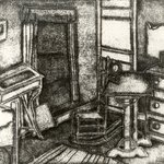 Untitled, Interior Scene with Chair, Desk, Clock and Window