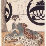 Beauty Composing a Poem on a Tanzaku Card, Third Flower Viewing