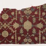 Fragment of a Carpet with Pattern of Lattice and Blossoms