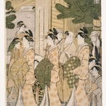 Faithful Depiction of the House Kimono Patterns Worn by Yoshiwara Courtesans Paying Holiday Visits on the Second Day of New Year