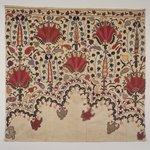 Textile fragment, border originally part of niche design.