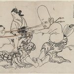 Fukurokuju Uses His Head, from an untitled series of the Seven Gods of Good Fortune