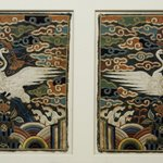 Rank Square (Hyungbae) Depicting a Single Crane, One of Pair