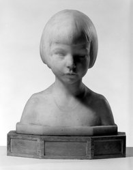 Vitorio Salvatore (American, 1884-1965). <em>Bust of a Child</em>, n.d. Marble with wood base, With base: 16 x 13 x 8 in. (40.6 x 33 x 20.3 cm). Brooklyn Museum, Gift of George D. Pratt, 13.1055. © artist or artist's estate (Photo: Brooklyn Museum, 13.1055_bw.jpg)