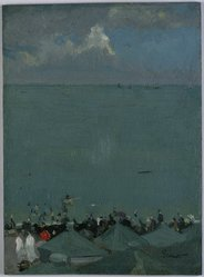 Walter Richard Sickert (British, born Germany 1860-1942). <em>The Height of the Season</em>, 1885. Oil on panel, 12 1/2 x 9 1/8 x 1/8 in. (31.8 x 23.2 x 0.3 cm). Brooklyn Museum, Gift of Ferdinand Gottschalk, 18.37. © artist or artist's estate (Photo: Brooklyn Museum, 18.37_SL1.jpg)