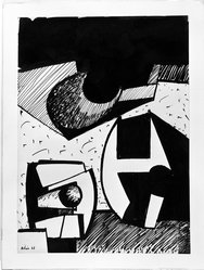 Jean Hélion (French, 1904-1987). <em>Abstraction (Figures)</em>, 1938. India ink on wove paper, 15 x 10 7/8 in. Brooklyn Museum, Purchased with funds given by Karen B. Cohen and Alfred T. White Fund, 1989.131. © artist or artist's estate (Photo: Brooklyn Museum, 1989.131_bw.jpg)