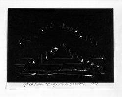Joshua Neustein (Israeli, born 1940). <em>Bridge Camouflage</em>, 1973. Torn black double carbon paper, 6 1/2 x 8 5/8 in. Brooklyn Museum, Alfred T. White Fund, 1989.135. © artist or artist's estate (Photo: Brooklyn Museum, 1989.135_bw.jpg)