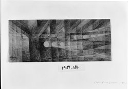Erika Giovanna Klien. <em>Subway Lights</em>, 1952. Graphite and crayon on paper, 5 x 12 in. (12.7 x 30.5 cm). Brooklyn Museum, Gift of Rachel E. Adler, 1989.186. © artist or artist's estate (Photo: Brooklyn Museum, 1989.186_bw.jpg)