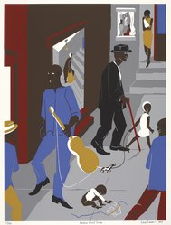 Jacob Lawrence (American, 1917-2000). <em>Harlem Street Scene</em>, 1975. Screenprint on white wove paper, Sheet: 30 7/16 x 22 1/2 in. (77.3 x 57.2 cm). Brooklyn Museum, Gift of Robert Levinson, 1989.32. © artist or artist's estate (Photo: , 1989.32_PS9.jpg)
